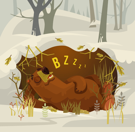lair: Happy smiling bear character mascot sleeping and resting in his cave. Vector flat cartoon illustration