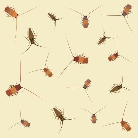 Cockroach background. Vector flat cartoon illustration Иллюстрация