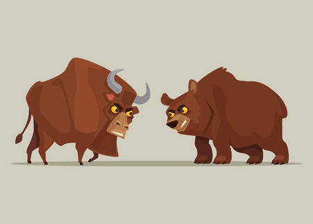 Angry strong bull and bear characters. Symbol of stock market. Vector flat cartoon illustration