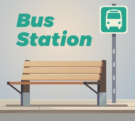 Empty bus station. Illustration