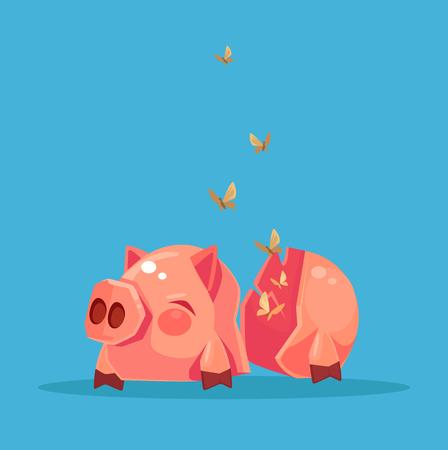 Broken empty piggy bank. No money. Financial crisis. Vector flat cartoon illustration