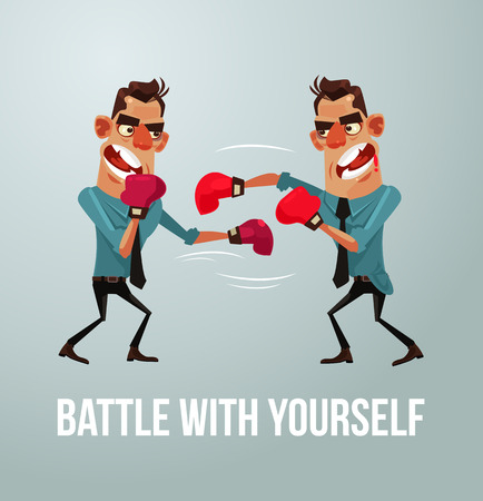 인간의 인물은 자신과 힘들어한다. 너 자신과의 전투. 벡터 평면 만화 일러스트 레이션