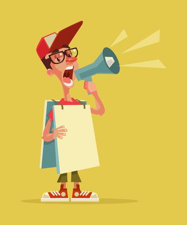 Happy smiling young man speaking in loudspeaker. Human billboard. Live advertising. Vector flat cartoon illustration Vector Illustration