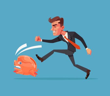 Businessman office worker character chase following running after piggy bank. Financial crisis. Vector flat cartoon illustration