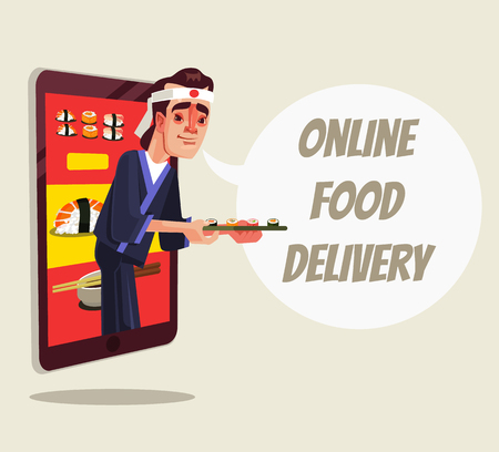 Chef character looking out of smartphone and holding sushi food. Illustration