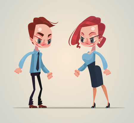 Angry man and woman office workers quarreling and screaming. Vector flat cartoon illustration Çizim