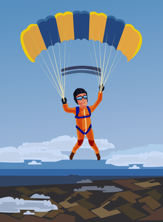 parachute jump: Sky diving happy smiling sportsman jump and fly with open parachute. Vector flat cartoon illustration