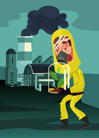 Sad man character in protective mask suit hold green plant for saving. Air nature environment pollution. Global warming and green house. Vector flat cartoon illustration