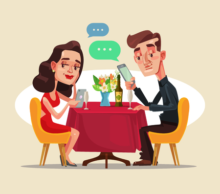 A man and a woman sitting in the cafe on a date and using smart phone vector flat cartoon illustration
