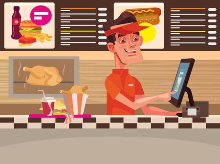 cafe food: Fast food cafe. Happy smiling cashier man character. Vector flat cartoon illustration Illustration