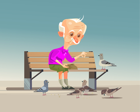 Happy smiling old grandfather character feeding doves. Vector flat cartoon illustration
