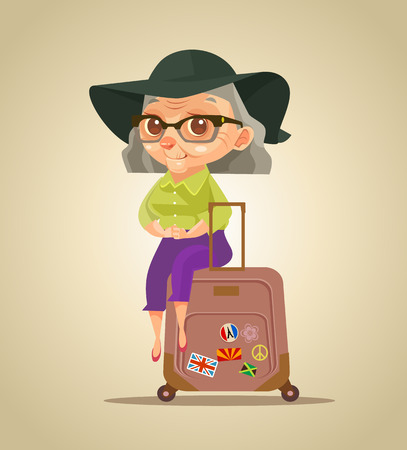 Happy smiling old tourist grandmother character sitting on bags. Vector flat cartoon illustration