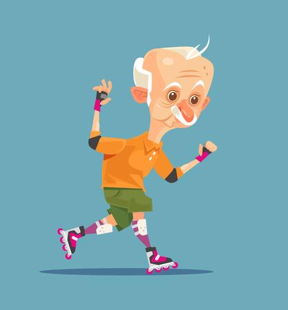 행복 한 미소 할아버지 캐릭터 롤러 스케이트에 웃 고. 벡터 플랫 만화 일러스트 레이션 일러스트