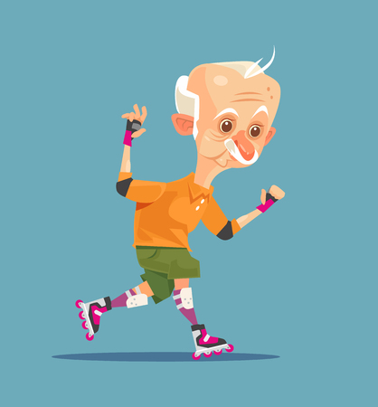 Happy smiling old man grandfather character on roller skating. Vector flat cartoon illustration Illustration