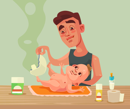 Father character changes baby diaper Vector flat cartoon illustration Illustration