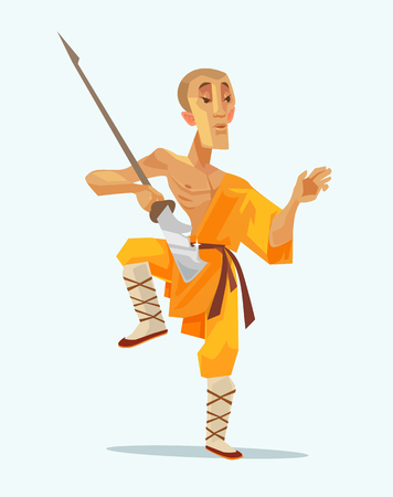 Monk Shaolin warrior man character standing in pose with weapon. Vector flat cartoon illustration