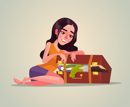 Happy smiling woman picking up suitcase vector flat cartoon illustration
