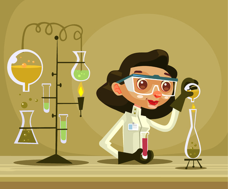 Happy smiling woman scientist character hold flask Vector flat cartoon illustration