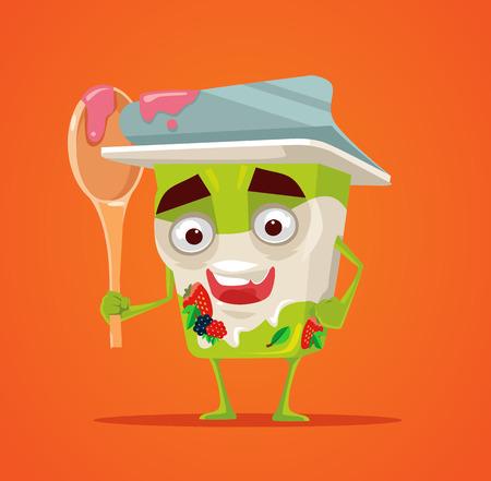 creamy: Happy smiling yogurt character hold spoon. Healthy breakfast. Vector flat cartoon illustration
