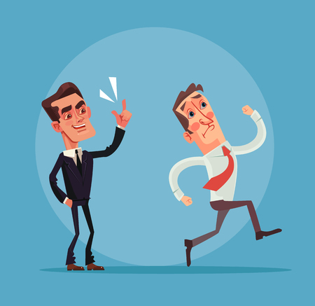 scold: Angry boss and employer characters. Vector flat cartoon illustration