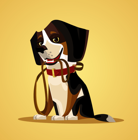 Happy smiling dog character hold leash in mouth. Vector flat cartoon illustration Vectores