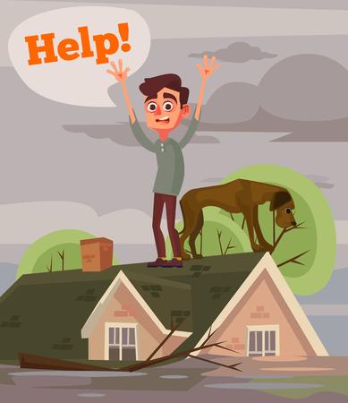 홍수 재난. 슬픈 불행 한 남자와 개입니다. 벡터 평면 만화 일러스트 레이션