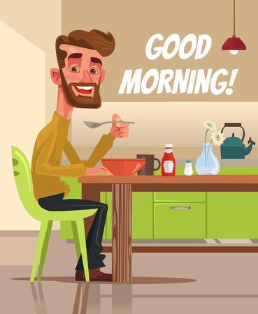 Gelukkig lachend man karakter met ontbijt. Goedemorgen. Vector platte cartoon illustratie