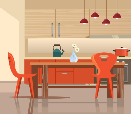 Home kitchen interior. Vector flat cartoon illustration