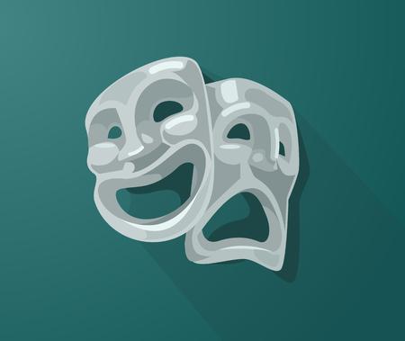 劇場悲しい悪い、幸せな笑みを浮かべて悲劇のマスクです。ベクトル フラット漫画イラスト  イラスト・ベクター素材