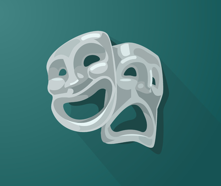 Theater sad bad and happy smiling tragedy masks. Vector flat cartoon illustration