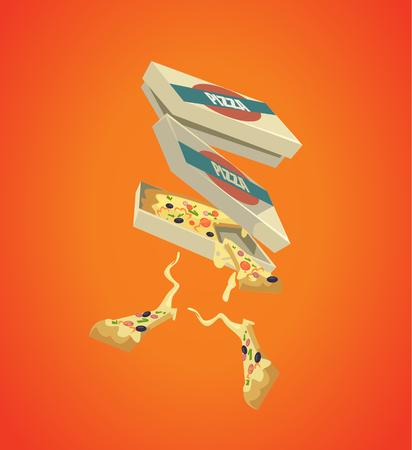 ファーストフード ピザ。ベクトル フラット漫画イラスト