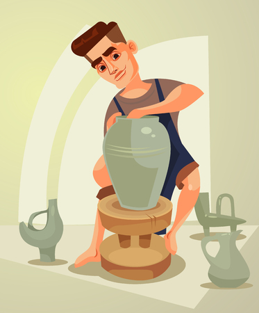 Happy smiling potter character makes clay pot. Vector flat cartoon illustration