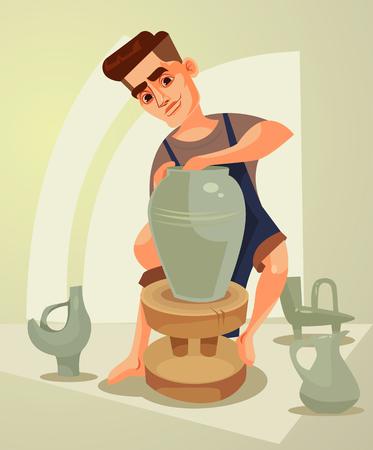Happy smiling potter character makes clay pot. Vector flat cartoon illustration Stock fotó - 80491225