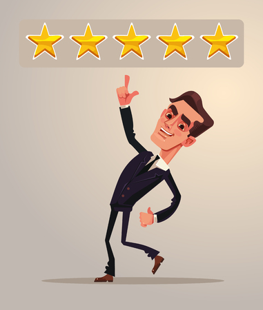 Positive five star feedback. Rating. Office worker businessman character. Vector flat cartoon illustration