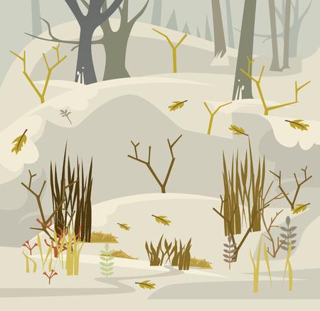 森の早春。ベクトル フラット漫画イラスト