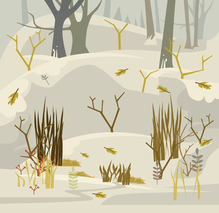 Early spring in forest. Vector flat cartoon illustration