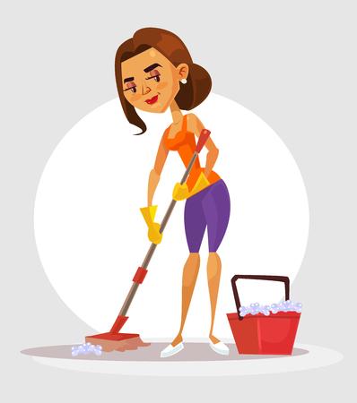 Mujer Limpiando El Icono De Dibujos Animados De Piso Carácter Joven Del Ama De Casa Que Lava El Piso De Madera Con La Fregona Y El Cubo En La Sala De Estar