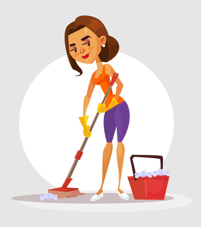 Woman housewife character holds mop and washes floor. Vector flat cartoon illustration Illustration