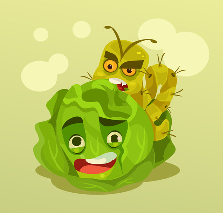 Caterpillar character eating cabbage. Vector flat cartoon illustration