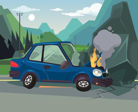 車の事故。ベクトル フラット漫画イラスト  イラスト・ベクター素材