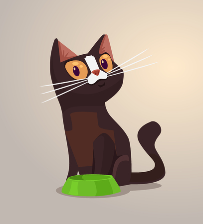 whiskers: Happy smiling cat character sits near bowl. Vector flat cartoon illustration