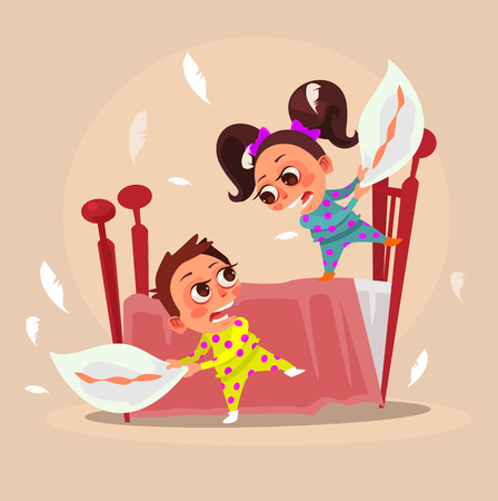 Happy smiling little children. Vector flat cartoon illustration Çizim