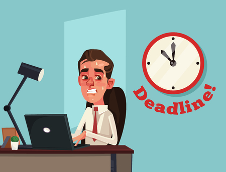 Unhappy busy sad. Deadline. Vector flat cartoon illustration Ilustração