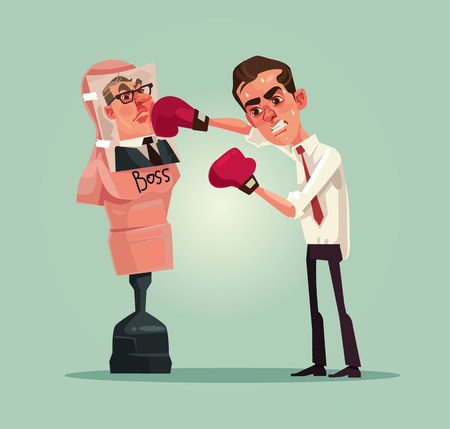 Angry upset office worker man man beats boxing mannequin with boss photo. Vector flat cartoon illustration