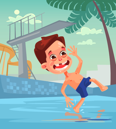 Happy little boy. Happy summer holiday. Vector flat cartoon illustration