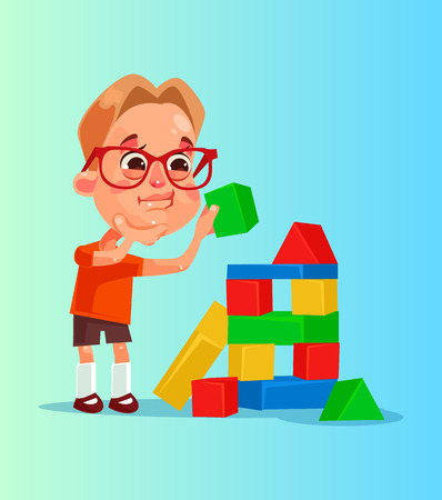 Happy smiling little boy character builds pyramid of cubes. Vector flat cartoon illustration Ilustração
