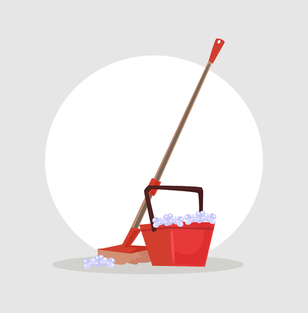 Bucket and mop icon. Cleaning concept. Vector flat cartoon illustration