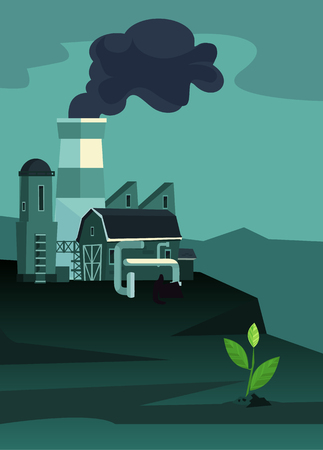 Industrial zone factories with pipes. One survivors plant. Environmental nature pollution. Vector flat cartoon illustration Иллюстрация