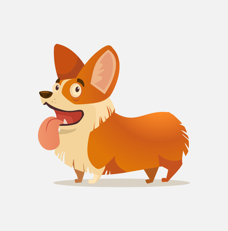 Happy smiling Welsh Corgi dog character mascot. Vector flat cartoon illustration Illustration