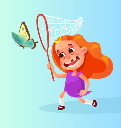 Happy smiling isolated little girl character mascot playing and running chasing after butterfly. Vector flat cartoon illustration